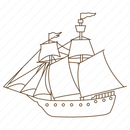 boat, ocean, pirate, sails, ship, travel, wind icon