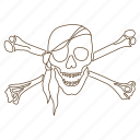 bones, crossbones, danger, eye patch, pirate, skull icon