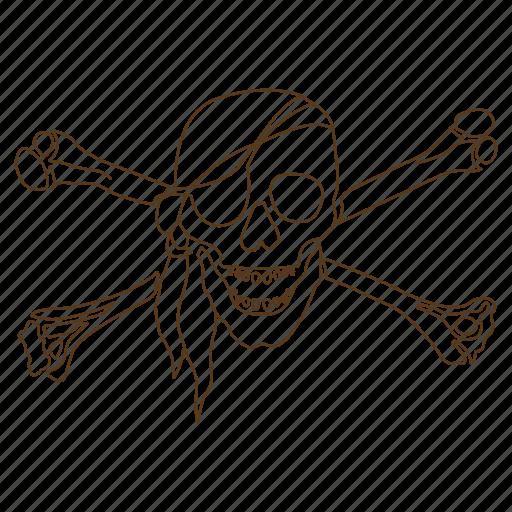 bones, crossbones, danger, eye patch, pirate, skull icon
