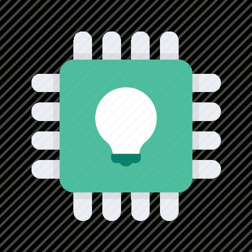 idea, lightbulb, microchip, reality, virtual, vr icon