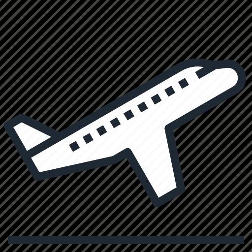 airplane, board, off, take, transportation icon