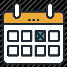 booked, calendar, cross, date, guardar, mark, save icon