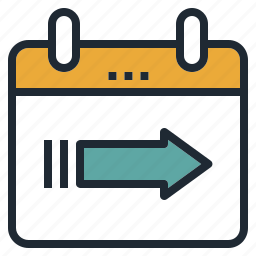 arrow, calendar, date, departure, go, travel icon