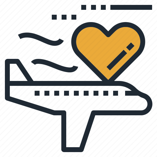 airplane, flight, fly, heart, love, travel icon