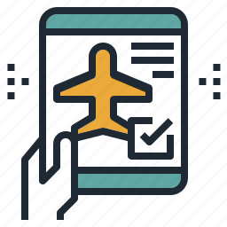 airplane, check, flight, in, mobile, travel icon