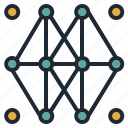 abstract, connection, dot, edge, network, node icon