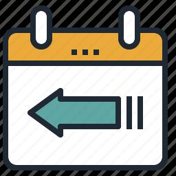 arrow, back, calendar, date, return, travel icon