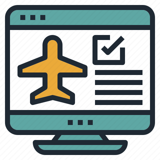 airplane, check, flight, in, travel, web icon