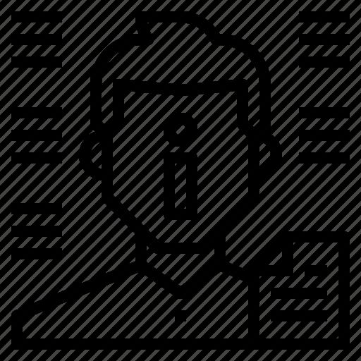 avatar, data, document, information, man icon