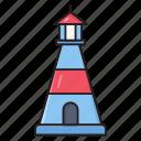 lighthouse, building, marine, nautical, tower icon