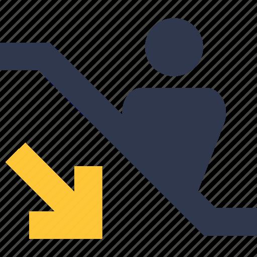escalator, escalator down, escalator icon, escalator sign, escalator stairs, escalator symbol, escalator symbols icon