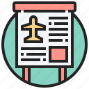 airplane, announce, board, flight, information icon