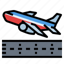 airplane, board, off, take, transportation
