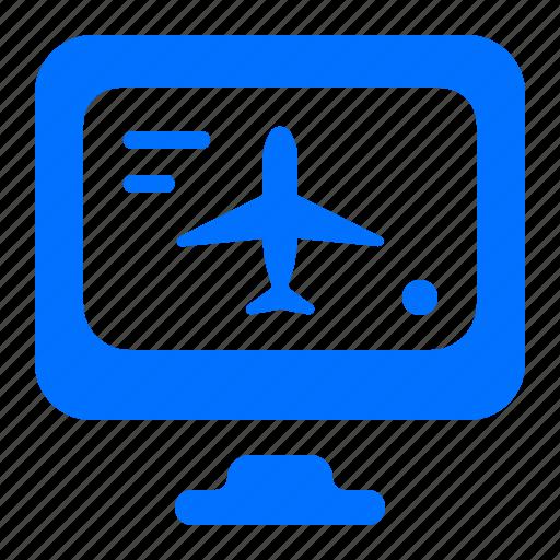 airplane, computer, flight, online icon