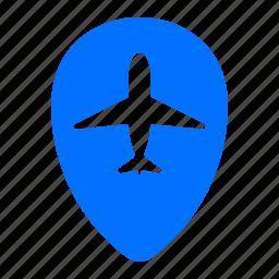 airplane, airport, flight, location icon