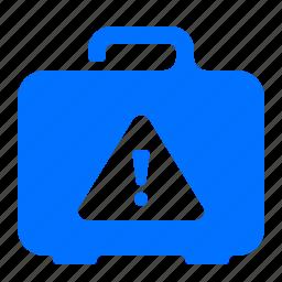 alert, case, luggage, warning icon