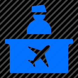 airport, check in, desk, flight icon