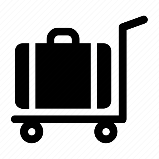bag, baggage, cart, luggage icon