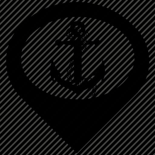anchor, gps, map, marine, navigation, pointer, port icon