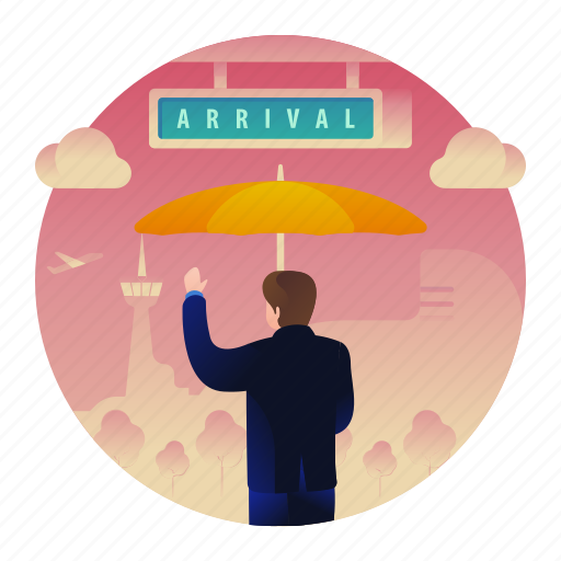 Airport, arrival, gate, man, welcome icon - Download on Iconfinder