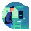 atm, bank, man, money, withdraw icon