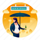 airport, arrival, woman icon