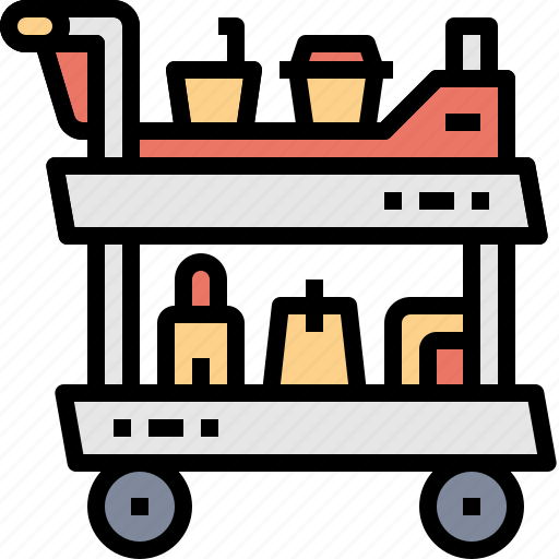 airplane, carry, drink, food, service, snack, trolley icon
