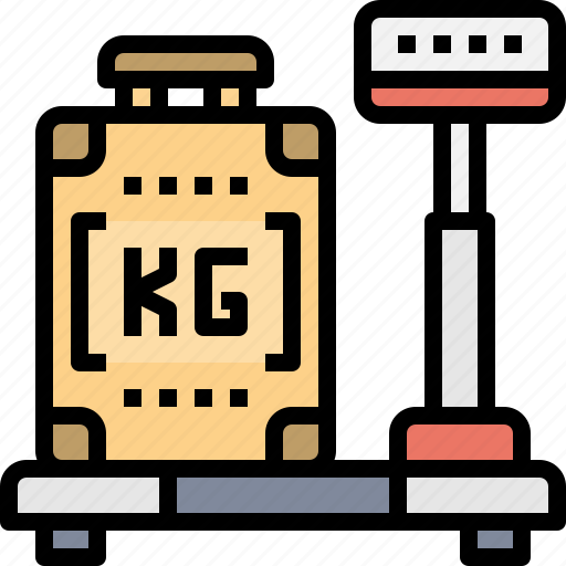 airport, bag, baggage, carry, checked, scale, weighing icon