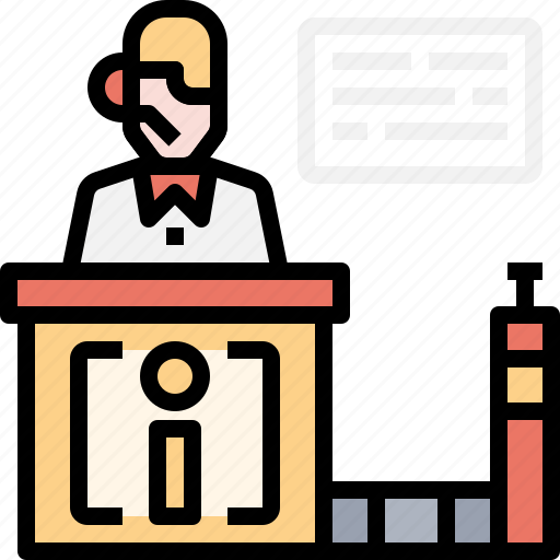 Customer, flight, service, counter, in, check, booking icon