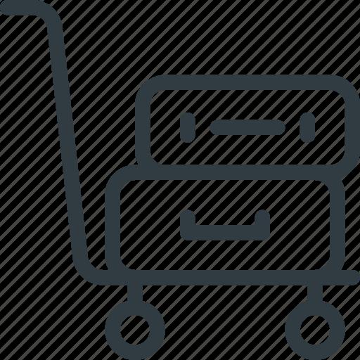 airport, cart, luggage, terminal icon