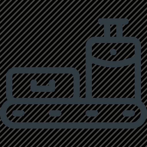 conveyor, luggage, scan, select, sign, terminal, wait icon