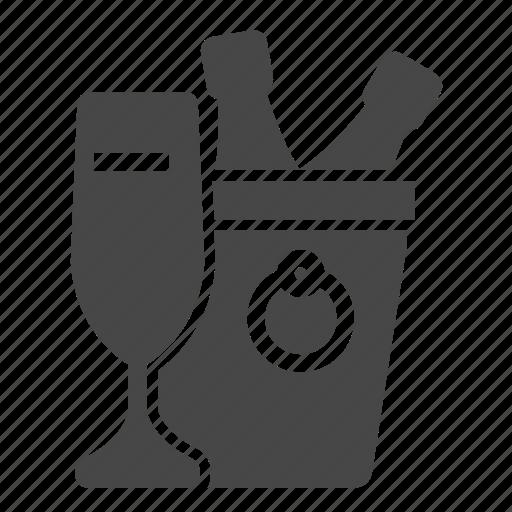 bucket, restaurant, wine icon