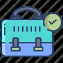 briefcase, check