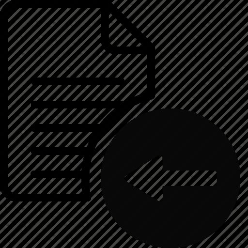 arrow, back, document, file, previous, undo, up icon
