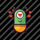alien, emoji, heart, inlove, love, ufo icon