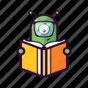 alien, book, clever, emoji, read, smart, ufo icon