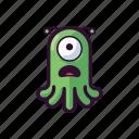 alien, emoji, sad, scared, ufo icon
