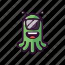alien, cool, emoji, glasses, ufo icon