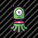 alien, dead, death, emoji, sliced, ufo icon