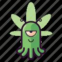alien, cannabis, emoji, happy, high, ufo icon