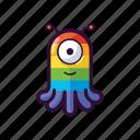 alien, emoji, gay, happy, rainbow, ufo icon
