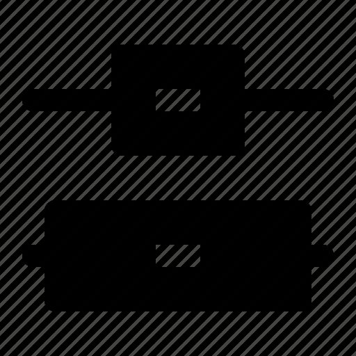 center, distribute, object, vertical icon