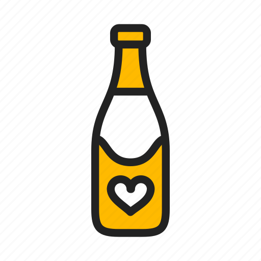 alcohol, bubbly, champagne, heart icon