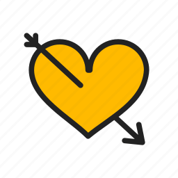 arrow, heart, love, valentine day icon