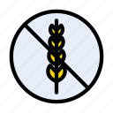 grain, notallowed, food, stop, allergy icon