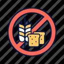 allergen, bread, free, gluten, prohibited icon