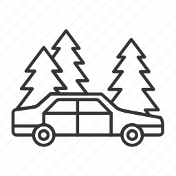 car, forest, parking, trees, vehicle icon