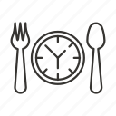 dinner time, eat, food, fork, lunch, spoon icon
