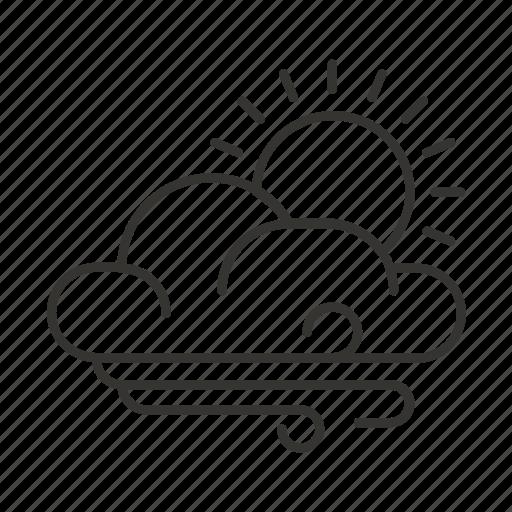cloud, forecast, rain, sun, weather, wind icon