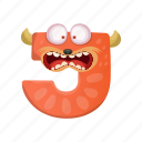 capital letter, cartoon monster j, children education, english alphabet, terrified j icon